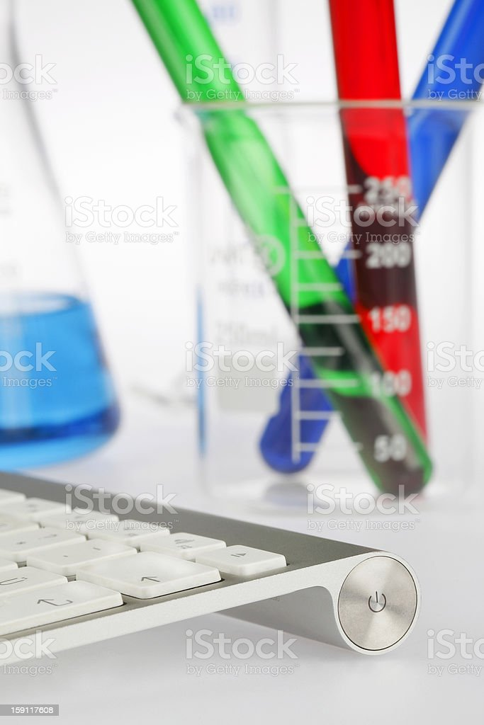 Keyboard and Test Tubes royalty-free stock photo