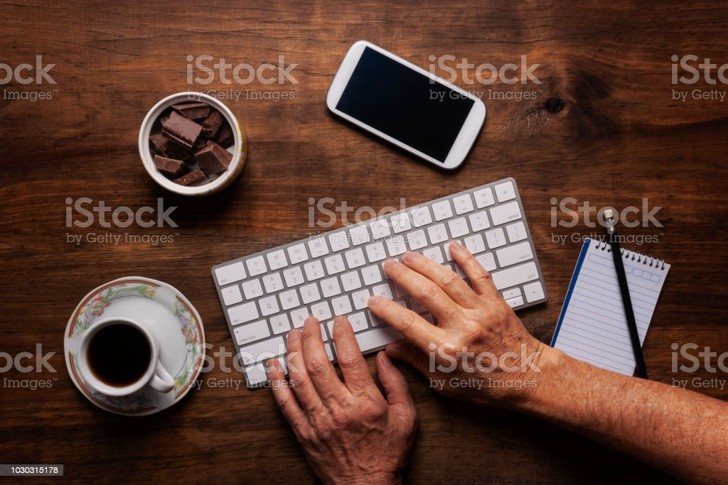 Keyboard and work space stock photo