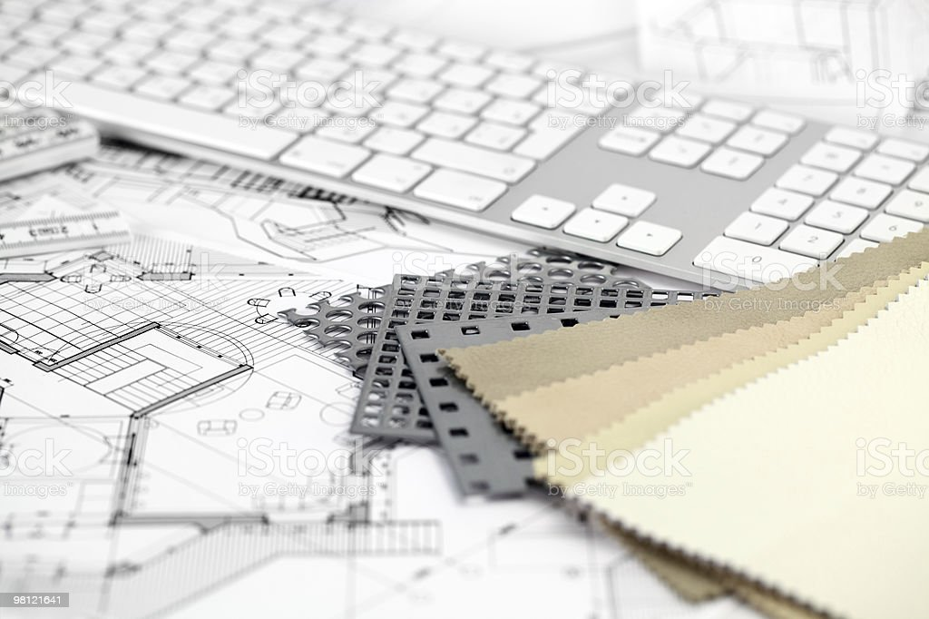 keyboard & architectural plans royalty-free stock photo