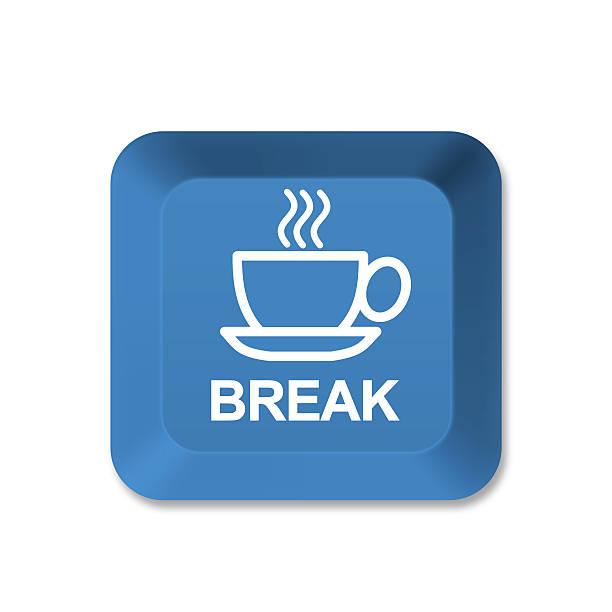 tastatur taste-kaffeepause - mittagspause schild stock-fotos und bilder