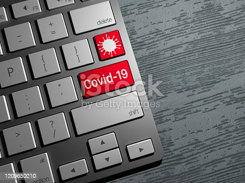 Keyboard button, coronavirus search on the web, internet covid-19 search. News on the web. 3d render