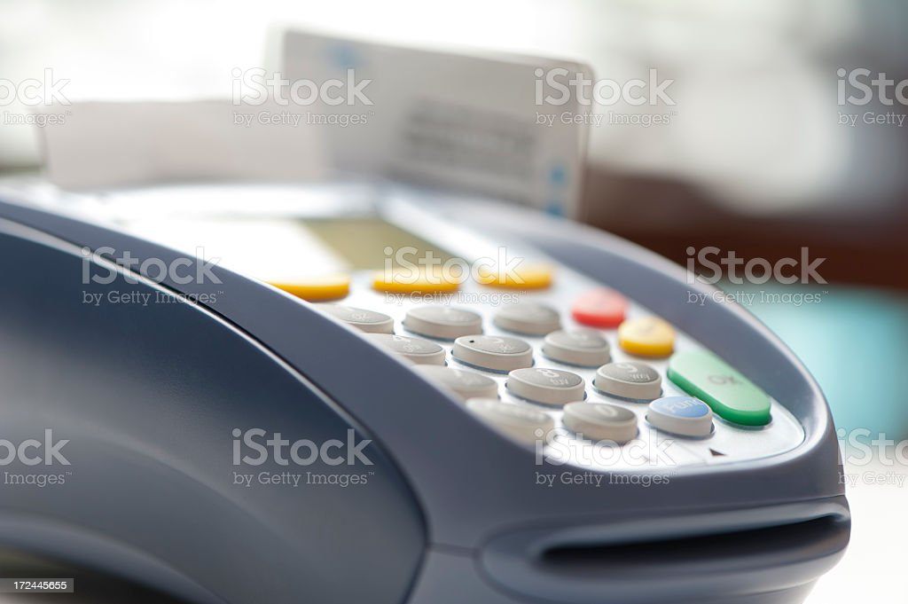 Keyboard close up of  EFTPOS machine royalty-free stock photo