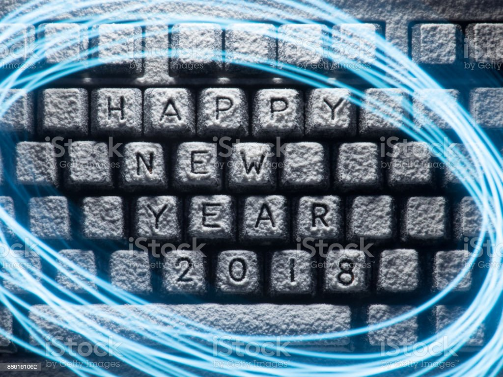 Keyboard Covered With Snow With Title Happy New Year 2018