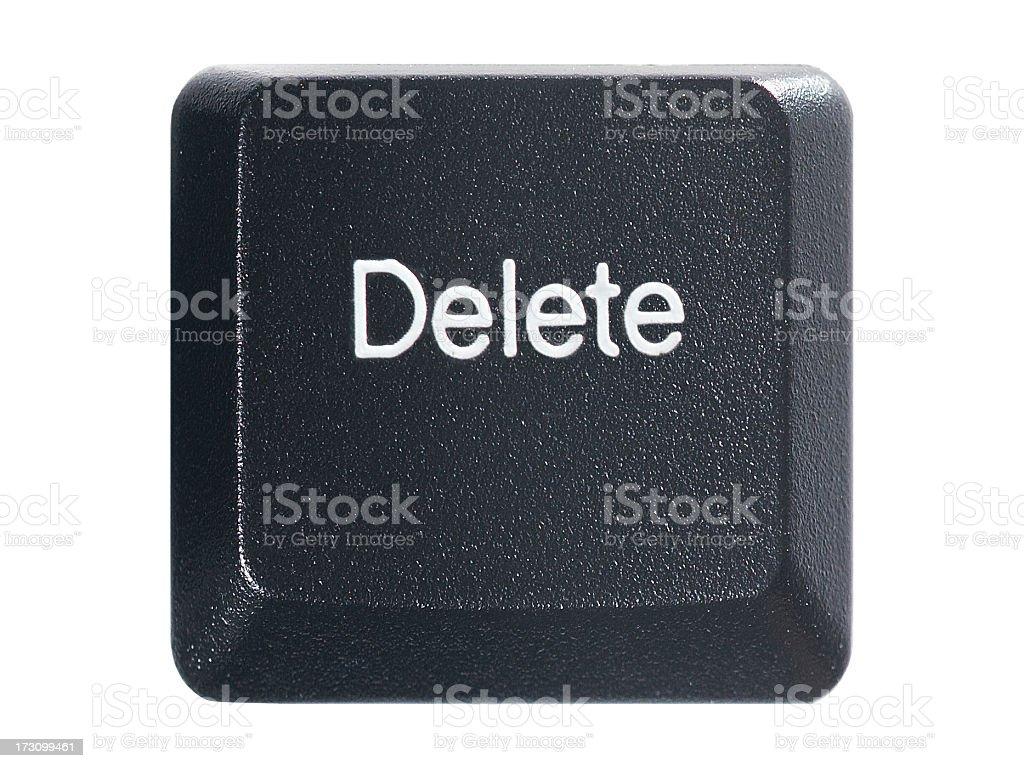 Keyboard delete key on a white background stock photo