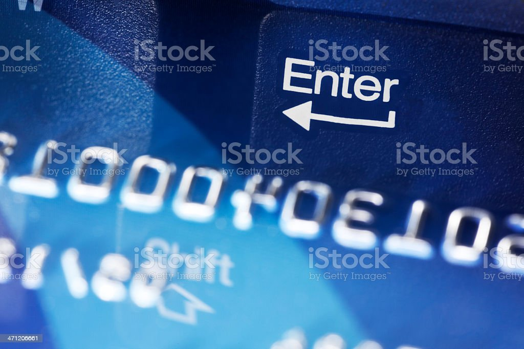 Keyboard Enter Key Reflection in Credit Card royalty-free stock photo