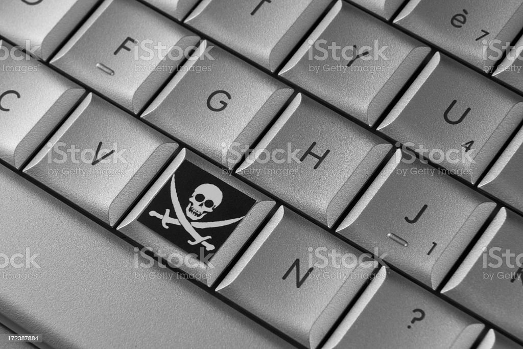 A keyboard icon for piracy beside letter v and n stock photo