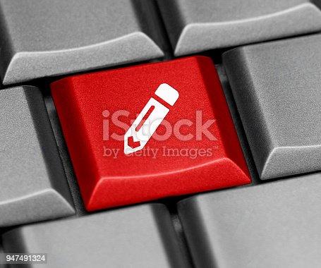 istock Keyboard key - edit pencil 947491324
