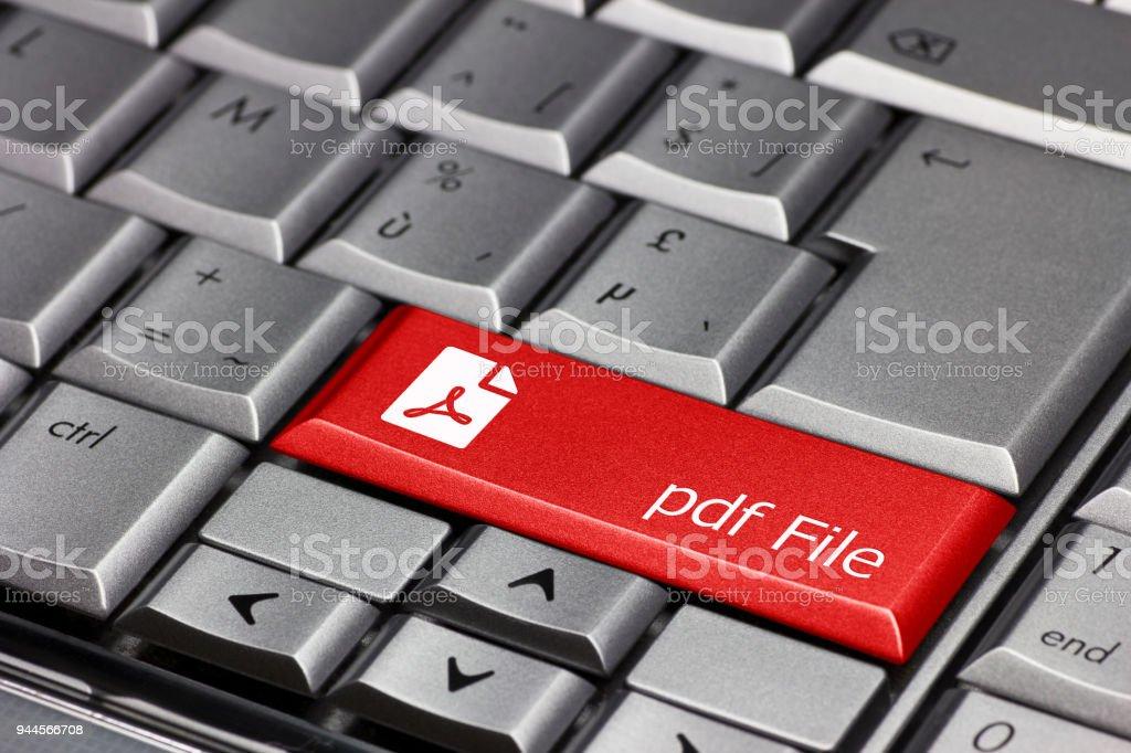 Keyboard key - pdf file stock photo