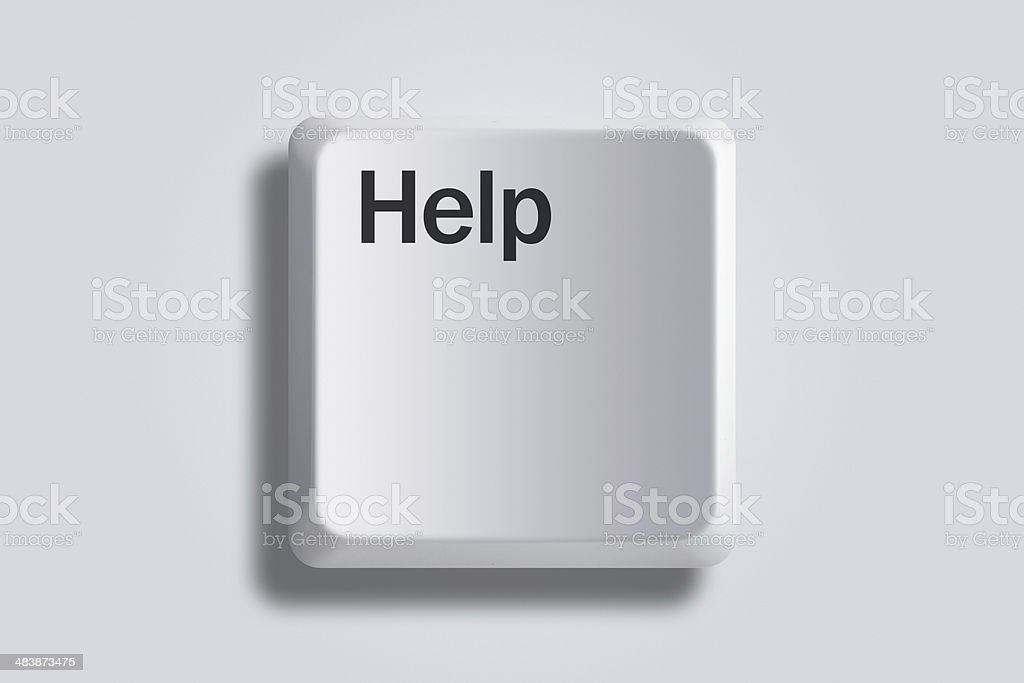 Keyboard key with a help text stock photo