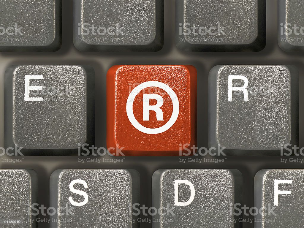 Keyboard, key with Registered mark symbol royalty-free stock photo
