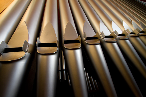 Keyboard keys close-up of a church organ