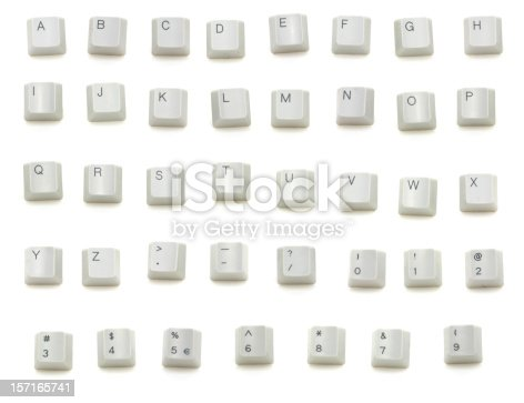 Keys from a keyboard isolated on white.  Write your own message.  Includes full alphabet and numbers.