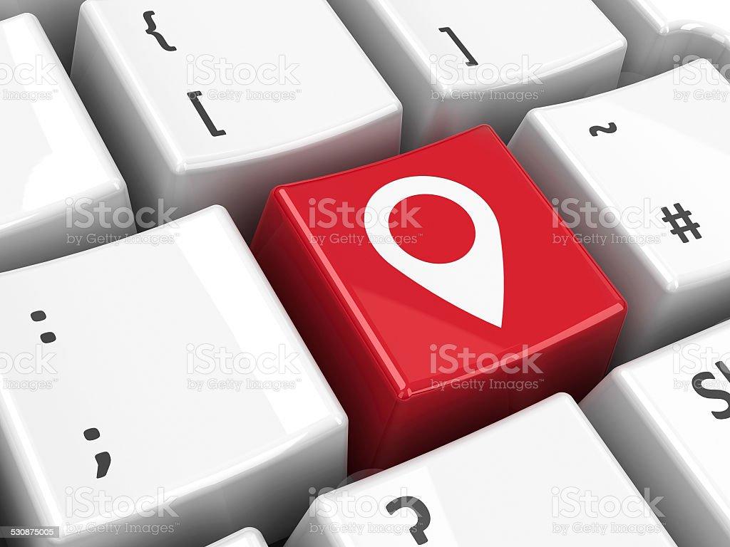Keyboard map pointer key stock photo