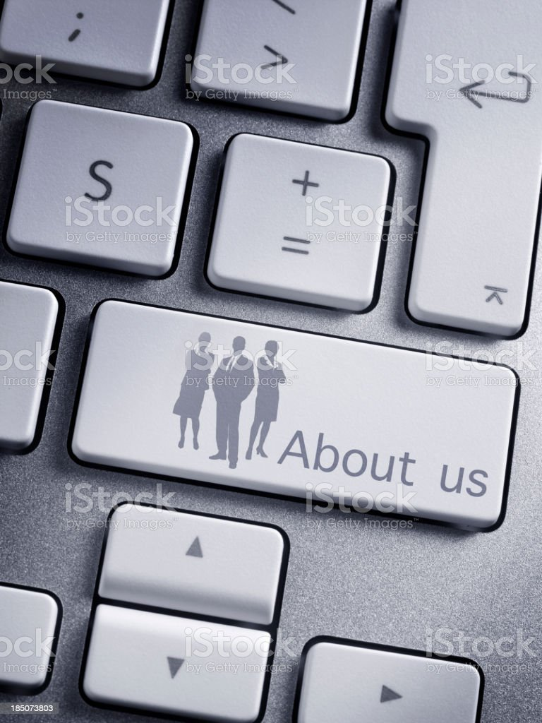 keyboard message About us royalty-free stock photo