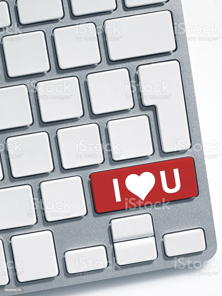 Keyboard message: I love you royalty-free stock photo