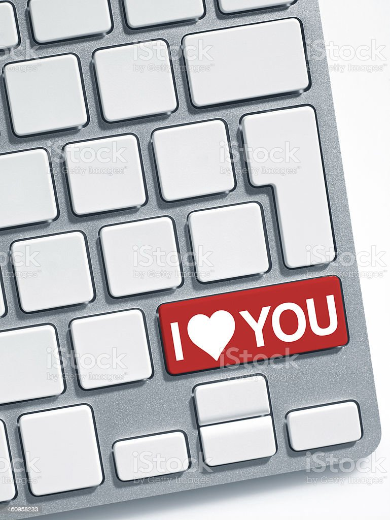 Keyboard message: I love you stock photo