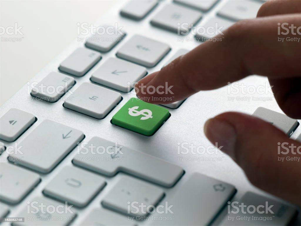 keyboard message , US dollar sign stock photo