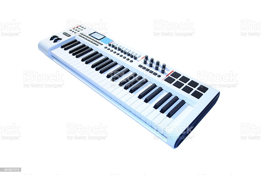 keyboard music white stock photo