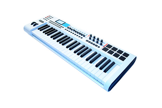 keyboard music white stock photo