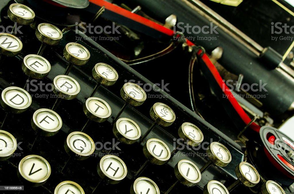 Keyboard of an antique typewriter stock photo