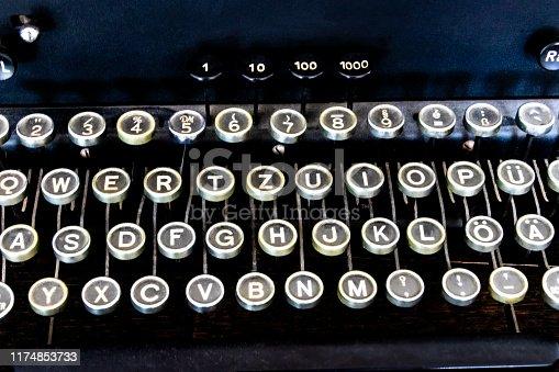 Keyboard of an old black typewriter