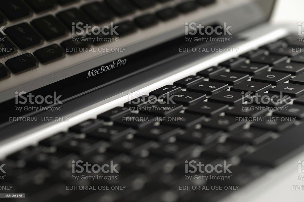 Keyboard of beautifully designed Apple MacBook Pro laptop royalty-free stock photo