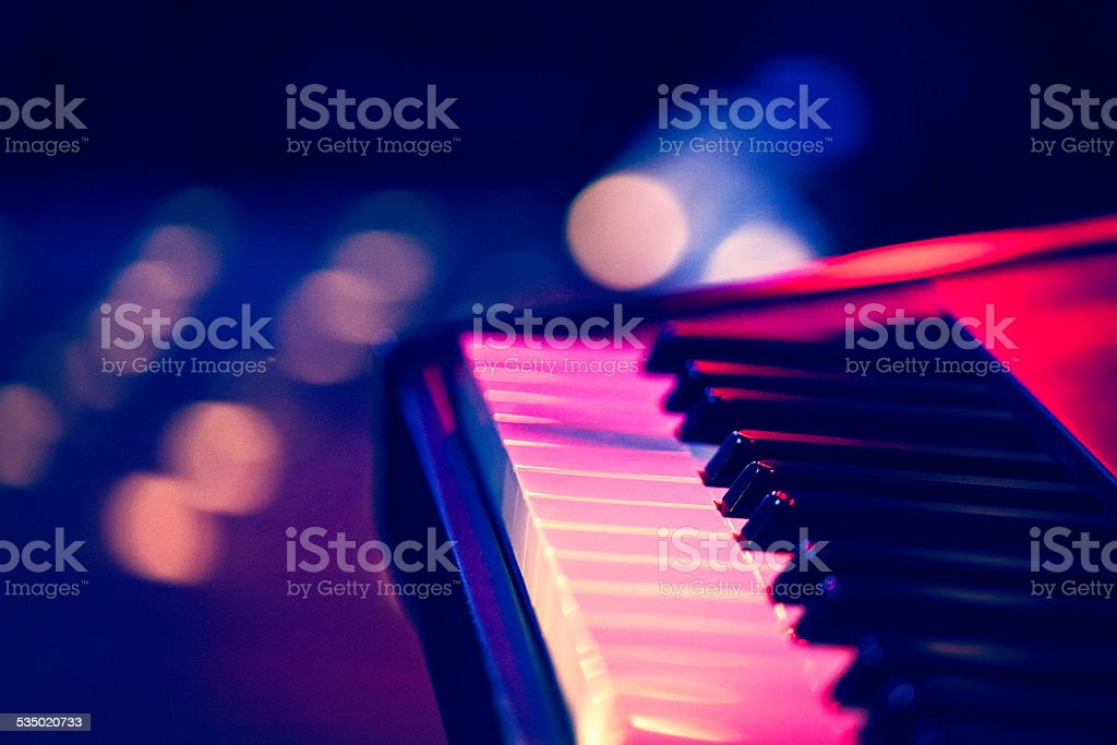 Keyboard on stage stock photo