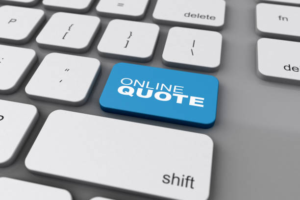 3D Keyboard Online Quote Button stock photo