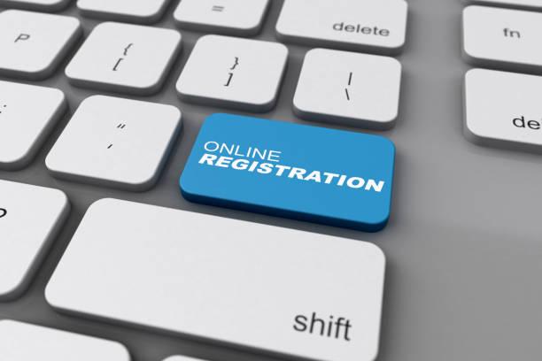 3D Keyboard Online Registration Button stock photo