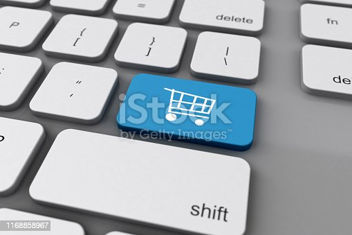 Close up of 3D keyboard with the online shopping cart on the enter or return key.