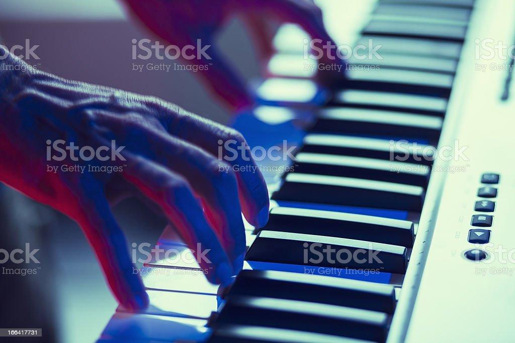 Keyboard player stock photo
