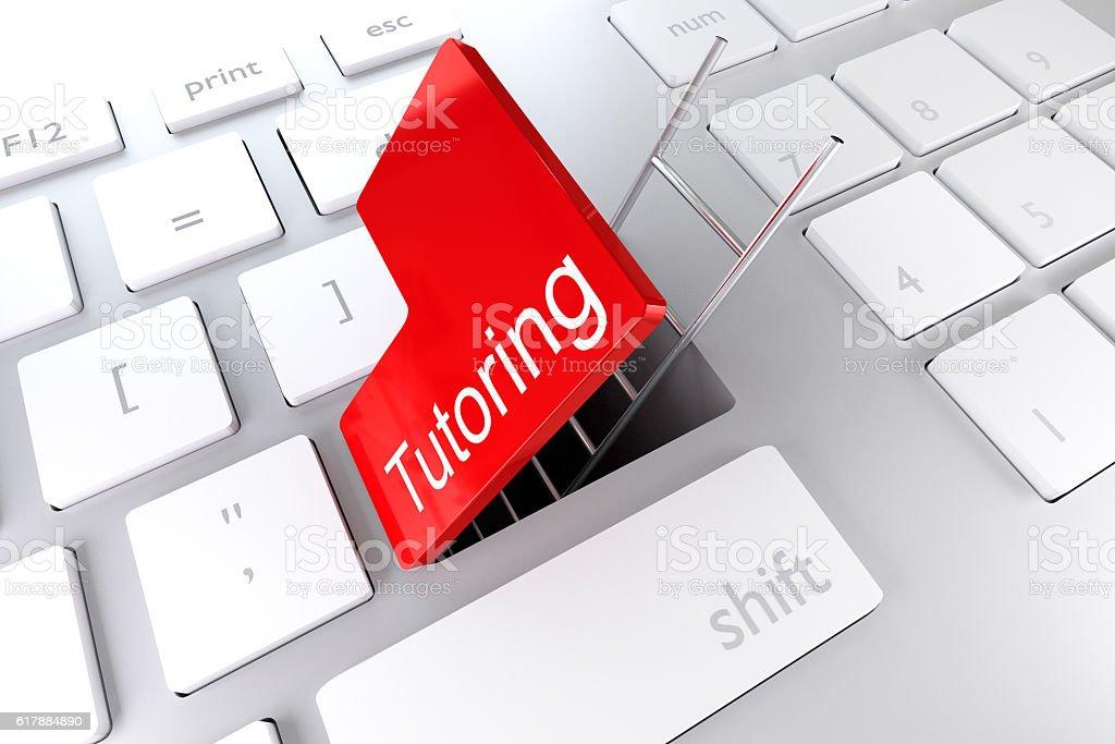 keyboard red enter key hatch ladder tutoring 3D Illustration stock photo