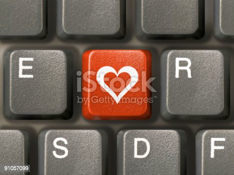 istock Keyboard (closeup), red key with heart 91057099