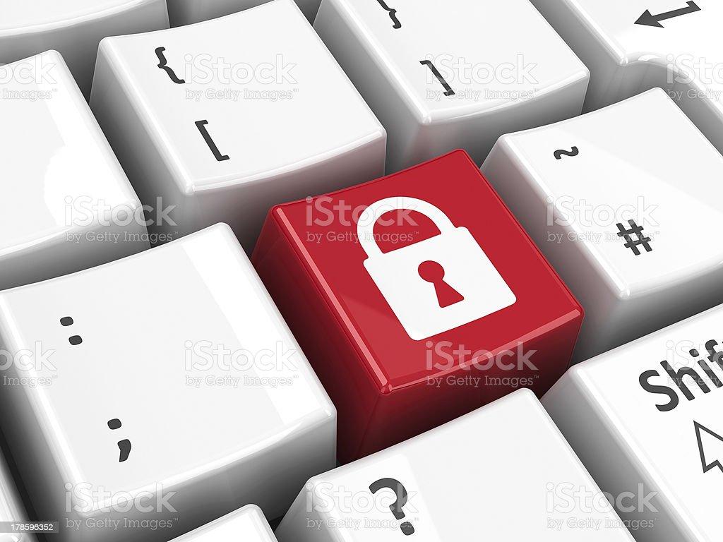 Keyboard security key stock photo