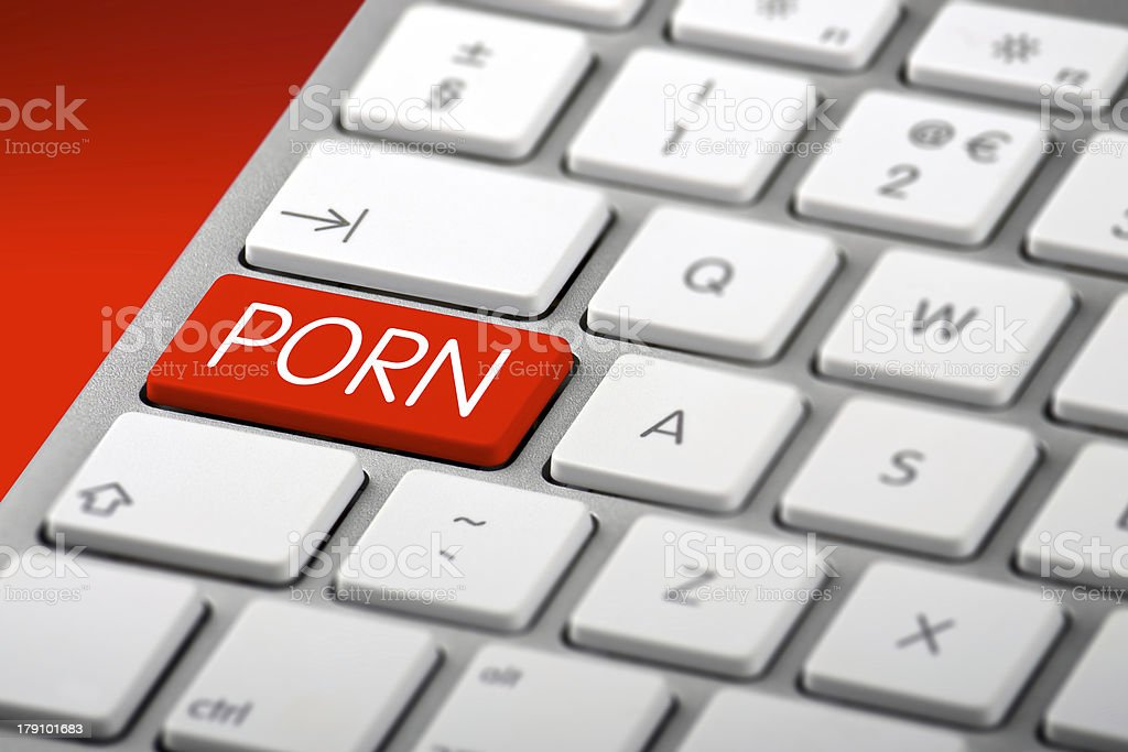 Keyboard with a Porn Key stock photo