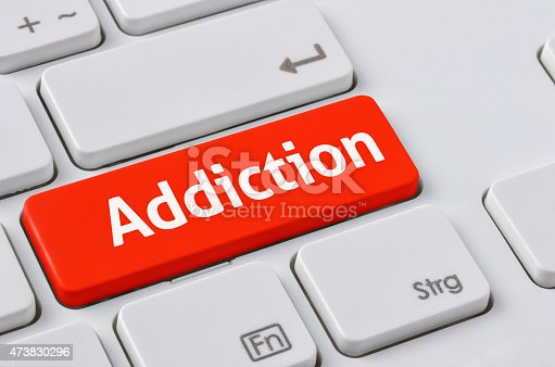 istock Keyboard with a red button - Addiction 473830296