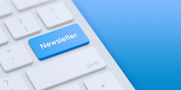 Keyboard with blue Newsletter key Keyboard with blue Newsletter key and copy space. 3d illustration. newsletter stock pictures, royalty-free photos & images