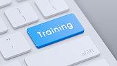 istock Keyboard with Blue Training key 1206284377