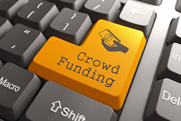 Keyboard with Crowd Funding Button. stock photo