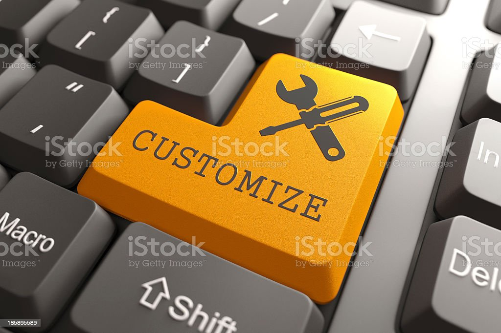 Keyboard with Customize Orange Button. stock photo