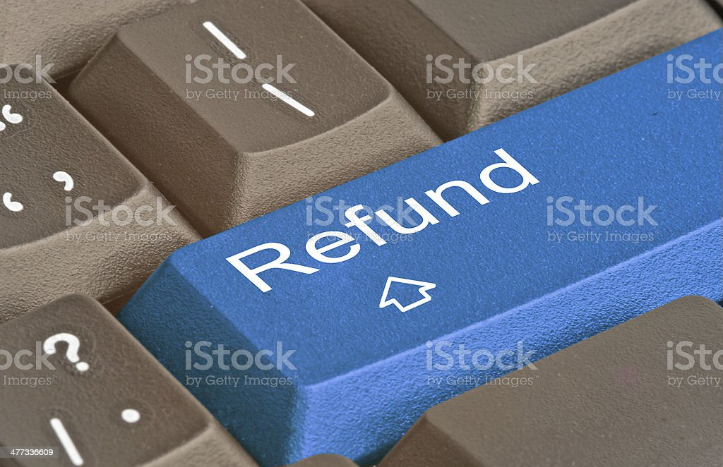 keyboard with hot key for refund stock photo