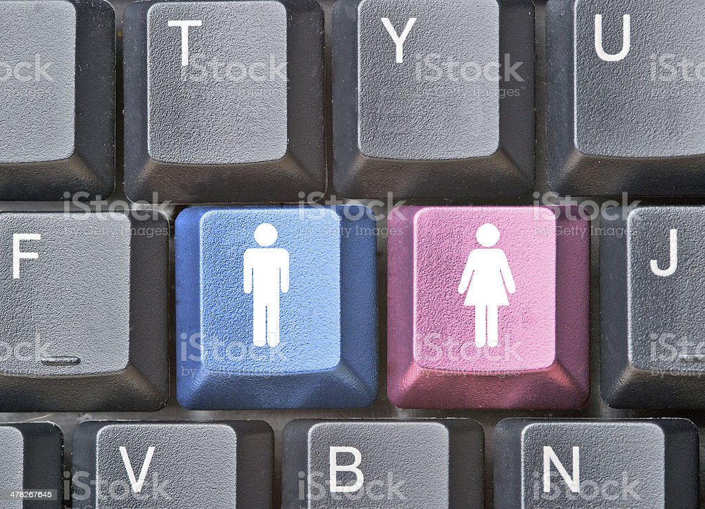 Keyboard with hot keys for man and woman stock photo