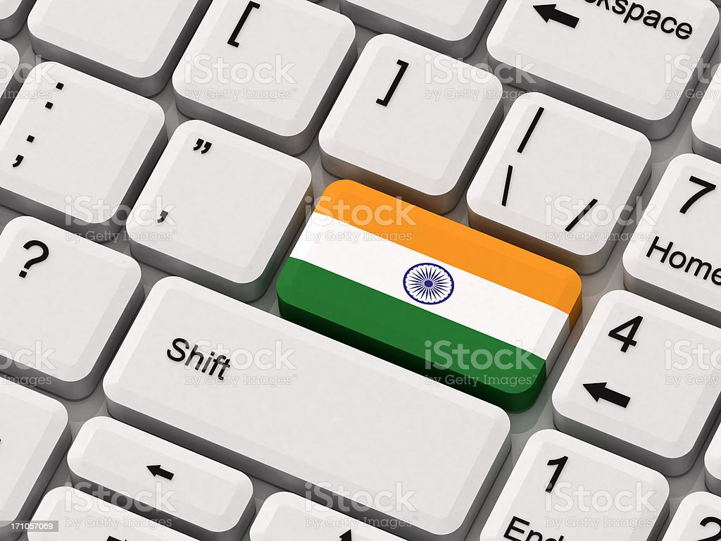 Keyboard with India Flag royalty-free stock photo