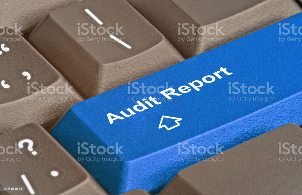 Keyboard with key for audit report stock photo