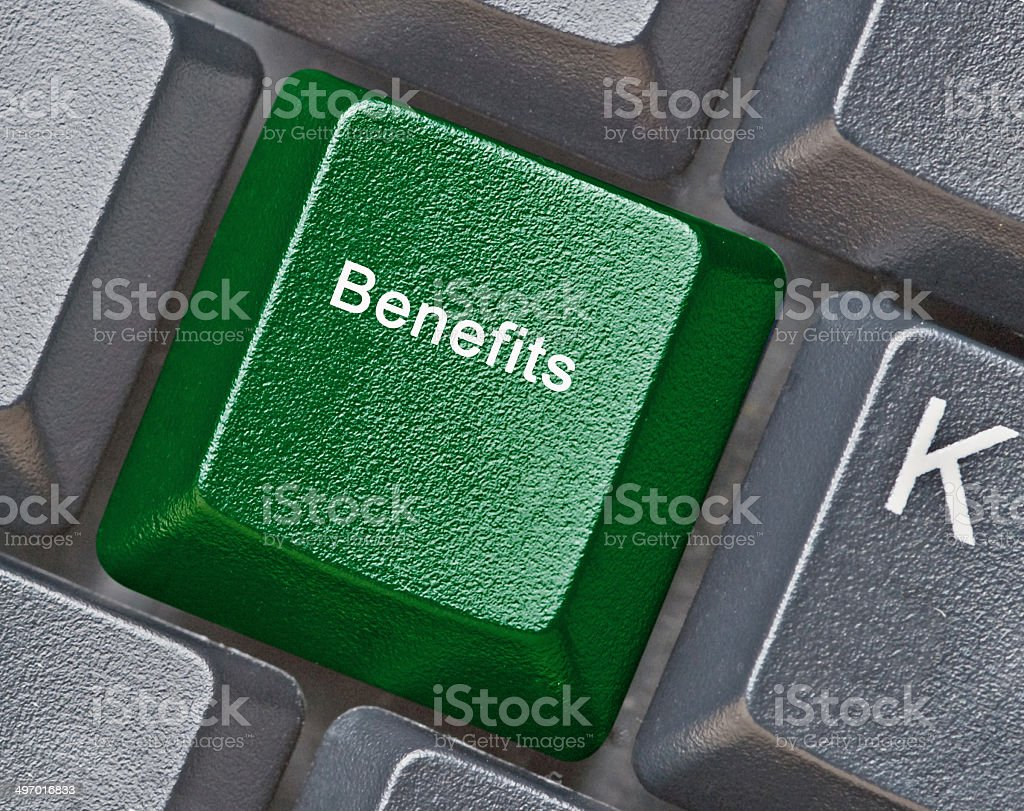 Keyboard with key for benefits stock photo