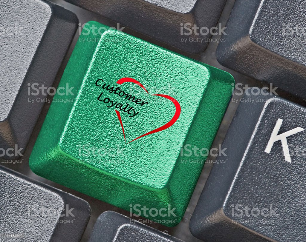 Keyboard with key for loyality stock photo