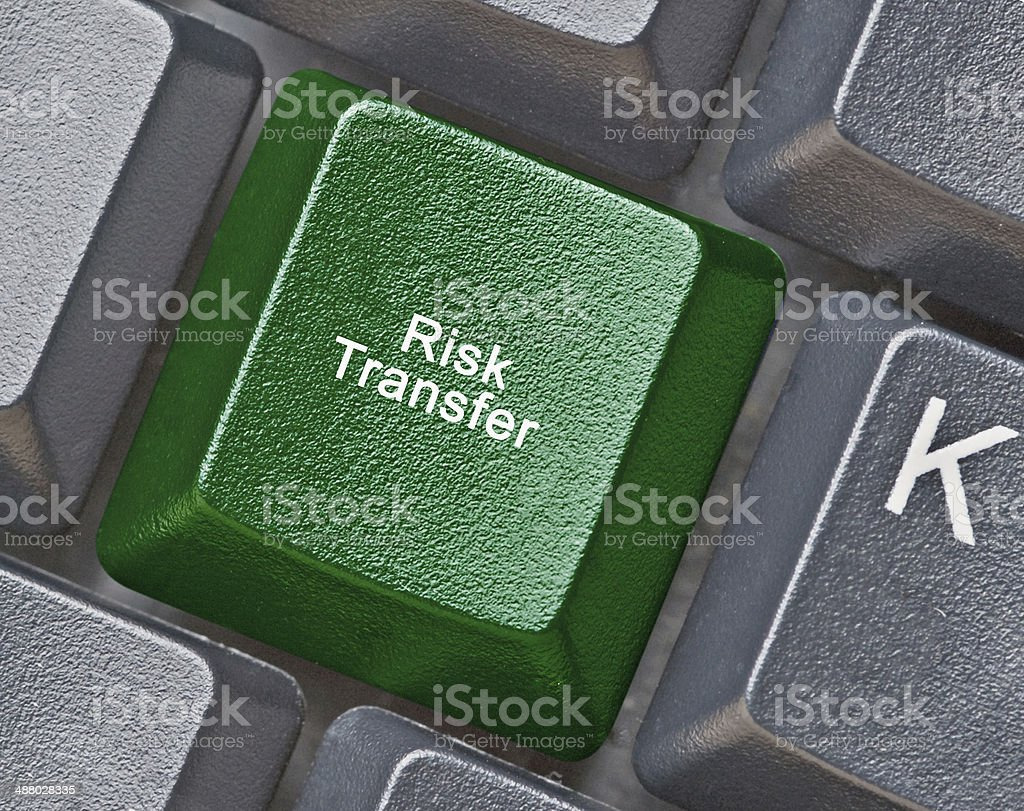 Keyboard with key for risk transfer stock photo