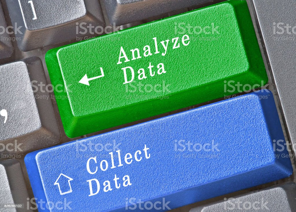 Keyboard with keys for collection and analysis of data stock photo