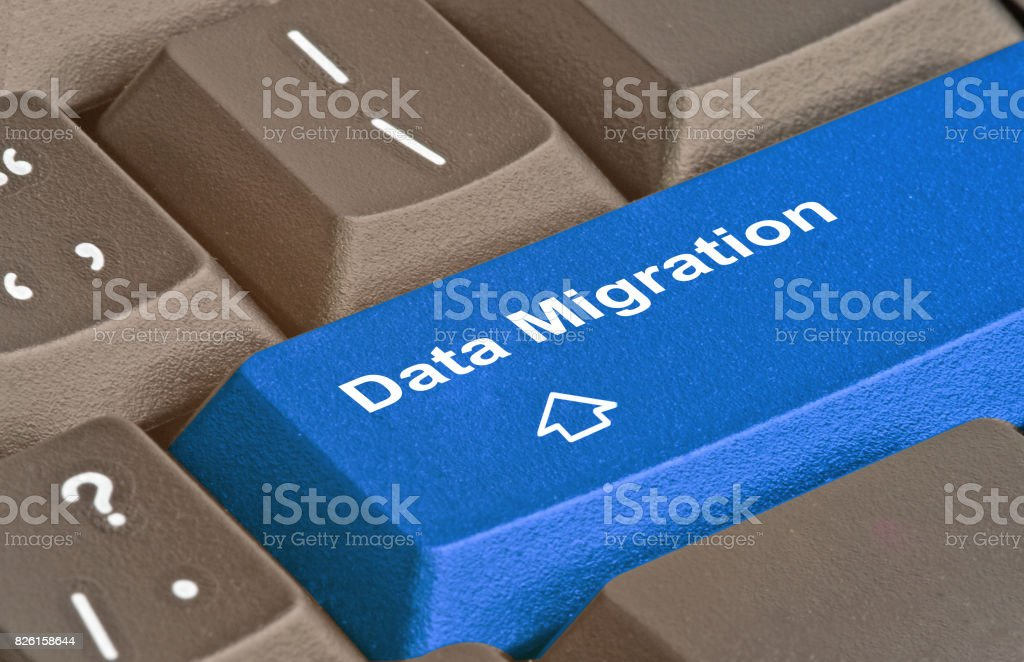 Keyboard with keys for data migration stock photo