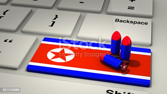 istock Keyboard with North Korea enter button 531249388